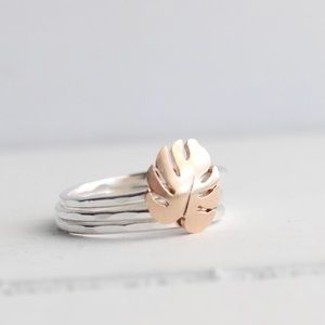 Jewelry - 14kt Gold Filled Monstera Stacking Rings
